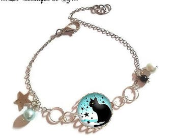 Bracelet fine silver with 18 mm cabochon * cat * (010118)