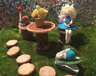 Fairy garden starter kit teal fairy garden table & chairs mini turtle mini snail 6 stepping stones ladybug stick baby fairy succulent clay