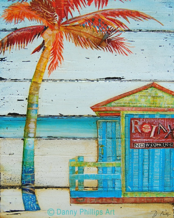 ART PRINT or CANVAS Palm Tree Beach shack surf Ocean Coastal Retirement summer vacation gift positive poster wall painting decor, All Sizes
