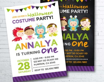 Halloween Birthday Invitation, First Halloween Invitation, Costume party invitation, Halloween Invites, Halloween Party, 2 options, DIGITAL