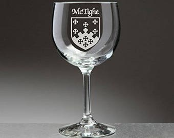 McTighe Irish Coat of Arms Red Wine Glasses - Set of 4 (Sand Etched)