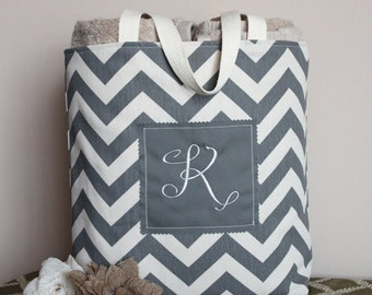 Monogram Tote Bag - Grey Chevron Duck Cloth Canvas - Personalized - Fully Lined - Bridesmaid, Baby/Bridal Shower, Wedding, Beach, Gift Bag