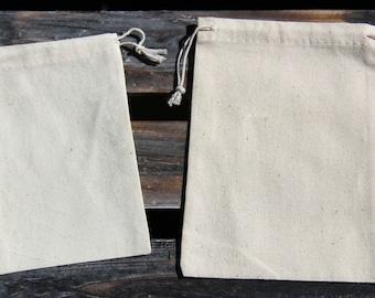 "Large (5"" x 6-1/2"") Muslin Drawstring Bags - 6 Quantity"
