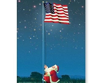 Patriotic Christmas Card - 18 Cards & Envelopes - American Flag - 20064