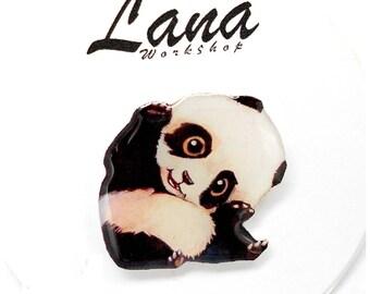 Panda brooch pin Animal brooch animal jewelry , panda jewelry clay panda  clay pin charming panda, enchanting panda.