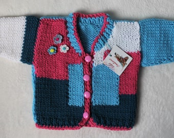 Hand-Knit Spring Cardigan for Babies, Acrylic.