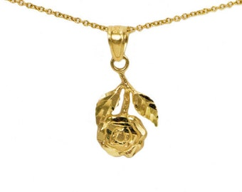 Gold rose necklace valentines day gift gold rose 14k yellow gold rose necklace with diamond cut finish solid gold hanging rose pendant with mozeypictures Gallery