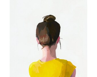 "8x10"" hair art - bun print - ""Top Knot 12"""