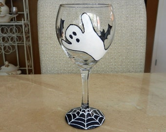 Halloween Ghost and Bats hand painted 12 oz  Wine Glass and Spider web base