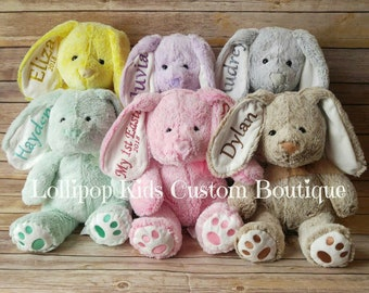 Hippity Hoppity Personalized Plush Easter Bunny (6 color choices)
