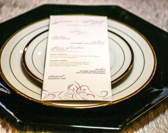 "Elegant Reception Menus, Purple Wedding, Lilac, Lavender and Gold, Dinner Menus - ""Elegant Lotus and Swirl"" Flat Menu, No Layers - DEPOSIT"