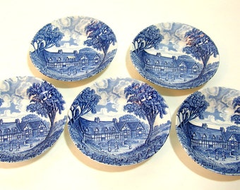 """Royal Essex Ironstone, Mary Arden's House, 5 1/4"""" Bowls, Set of Five"""