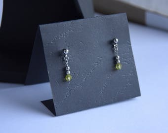 Peridot collection Artemis, stainless steel ear post earrings