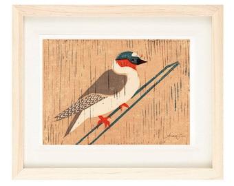 CLIFF SWALLOW Linocut Reproduction Art Print: 4 x 6, 5 x 7