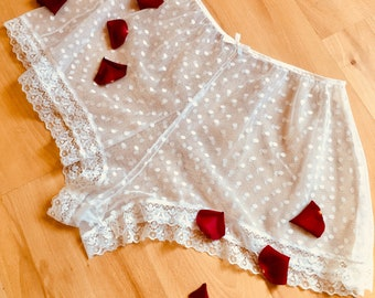 Sheer white polka dot lingerie set - spotty tap pants- sheer lingerie - french knickers - tap pants - white lingerie - wedding lingerie