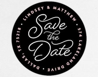 Return Address Label, Wedding Return Address Label, Family Return Address Label, Save the Date Return Address Label, Calligraphy, Black Pink