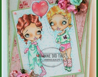 Digi Stamp Digital Instant Download Big Eye Girl ~ Patsy Image No. 17 & 17B by Lizzy Love