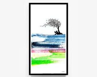"Printable Original Artwork, ""Gust Of Fancy"", Digital Print, Reading, Imagination, Boy, Girl, Tree, Wind, Leaves, Leaf, Digital Download"