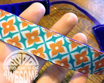 NOODLE HUGGER Non slip ribbon headband - orange turquoise diamond floral - 7/8 inch (for running, working out, and everyday)