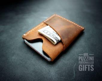 Minimalist leather wallet, minimalist wallet, slim wallet, front pocket wallet, credit card holder, Distressed Leather Slim Bifold Wallet