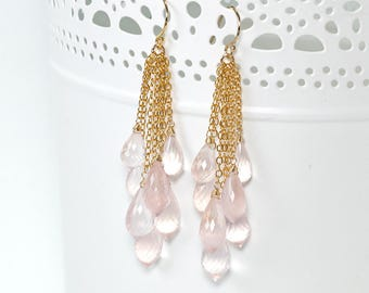 Rose Quartz earrings - Dangle cluster pink Rose Quartz gold filled earrings, Pink gemstone earrings, Valentine's Day Jewelry Gift for her