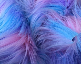 Pastel Puff - quality pink blue and purple long pile fluffy synthetic fur fabric  - Fat Quarter (70 x 50)