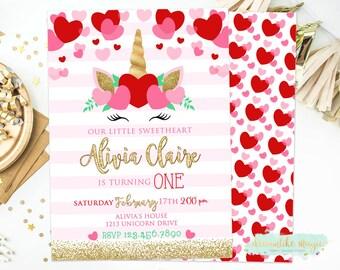 Valentine Unicorn Sweetheart Birthday Invitation, Unicorn Birthday Invite, Valentines Invite, Valentine Birthday Party, Sweetheart Birthday