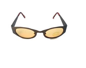 90's Orange Lens Oval Sunglasses tinted Orange Color Lens Sporty Y2k