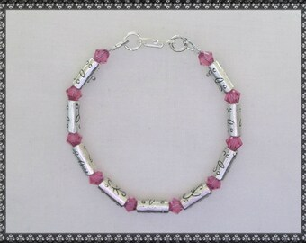 pink bracelet, pink crystal, crystal bracelet, silver and pink, silver