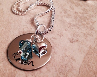 Personalized hand stamped necklace with Swarovski crystal birthstone and heart charm.
