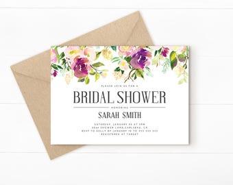 floral bridal shower invitation, floral bridal shower, bridal shower invite, bridal shower, printable invitation