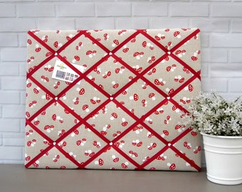 Red memo board, fabric noticeboard, message board, contemporary, country style, toadstool print, 40 x 50 cm, handmade