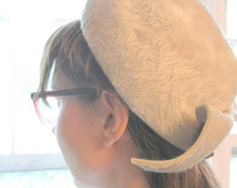 Faux Fur Pill Box Hat, 1960 Pillbox Hat, Vintage Faux Fur Pillow Box Hat, Elegant Hat, by mailordervintage on etsy
