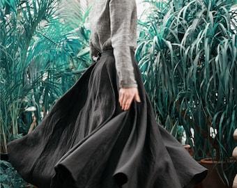 black linen skirt with pockets (10 colors), maxi skirt, ruffle skirt, linen skater skirt, linen flared skirt, floor length skirt