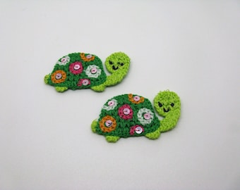 Lot 2 coats sewing applications-crocheted with a few sequins childish turtle pattern - ref 6K