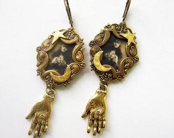 Fortune Teller earrings,  Palmistry earrings, Celestial jeweley, Delicate earrings, Clip on, Gypsy fortune Teller, Moon and Stars, gift girl