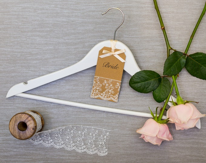 Wedding Hanger with Personalised Kraft Card and Embroidered Lace Label