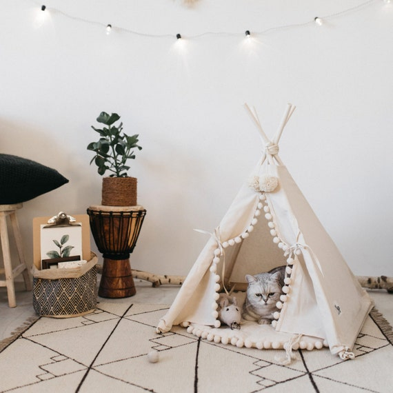 Cat bed with a matching pompom pad dog bed pet teepee pet for Dog tipi diy