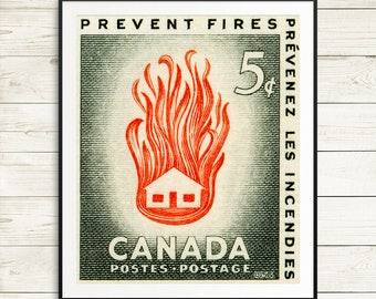 P128 Fire prevention, fire safety, fire poster, fireman, firemen, first responders, retro art print, retro poster, antique poster, postage