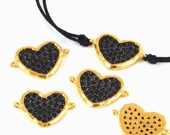 Pearl-between-two brass and faceted cubic zirconia - heart (17.5x11.5x1.5mm) - gold and black - ENT2MCR16OR717