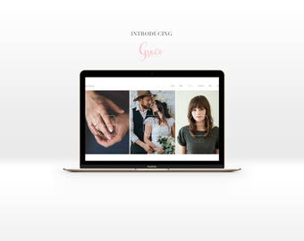 Pre made Wix Website template for wedding photographers-Ready to be used with wix platform-Wedding blog-Business card design-Watercolor