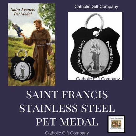 St Francis Pet Protection Medal, Pet Collar Charm | Dog or Cat Protection Medal with Prayer Card - STAINLESS STEEL