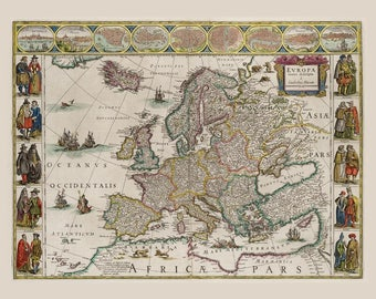 Ancient map of Europe at 1644, very old map,art deco,vintage decor, fine art print