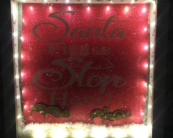 Light up Santa stop here frame