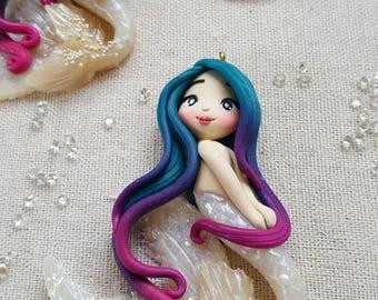 OOAK mermaid / Siren pendant or Bag charm