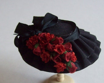 Black silk hat with red roses 1/12 dollhouse handmade miniature