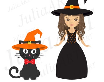 Cartoon witch girl curly in long dress and cat in hat vector image