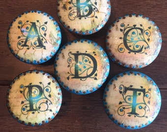 1.5 inch,alphabet, initial, monogram,old world style,brown teal cabinet knobs,drawer pulls, EACH SOLD SEPARATELY,
