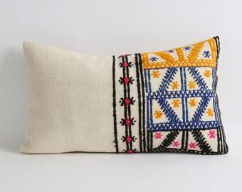 Decorative Tribal Lumbar Kilim Pillows cover 12x20 Bohemian Home Decor white blue yellow pink black