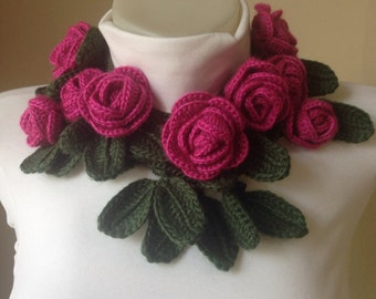 Crocheted Rose Scarf, Christmas Gifts, Crocheted Scarf, Scarves , Scarf,  Gifts, Pink Rose Scarf